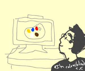 Guy smiling at a coloUr palette on TV