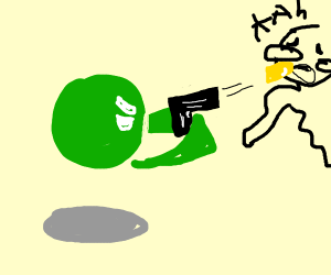 Green head and floating arms Shooting a face