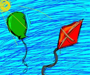 A kite and balloon