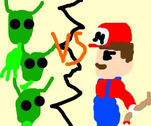 aliens vs armed mario