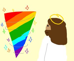 Jesus accidentaly creates rainbow tornado