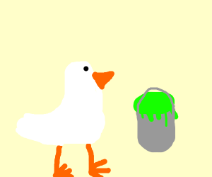 white bird with a can of neon green pain