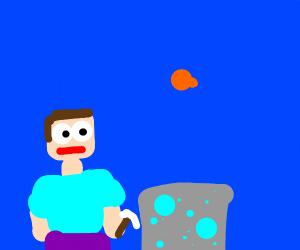 Steve mining diamonds underwater