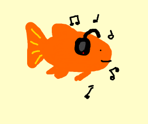 fish listening to some music with headphones