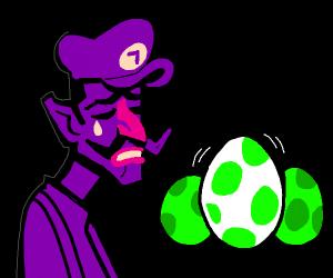Waluigi cries at hatching yoshi egg