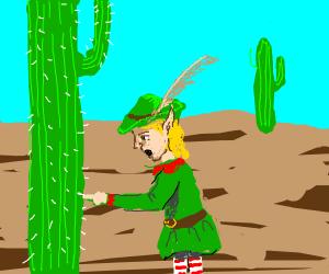 Elf pricks his finger on cactus
