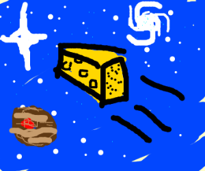flying cheese in space
