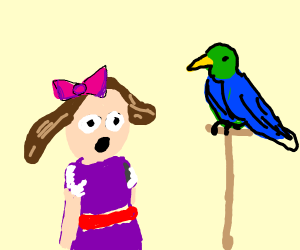 little girl staring at polly the bird