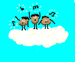 3 potatoes with black hair singing on cloud