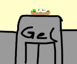Vegetable salad is stuck on jail