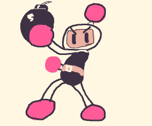 Bomberman poses with a bomb