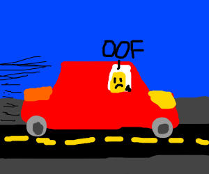 someone saying oof in a big red car