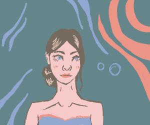 beautiful lady under water
