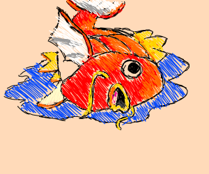 magikarp flopping on a puddle