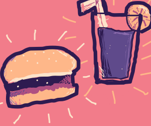 Hamburger and some juice