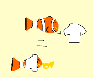 Clownfish playing with a Shirt