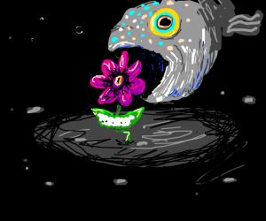 Fish kills flower with evil grin and dark eye