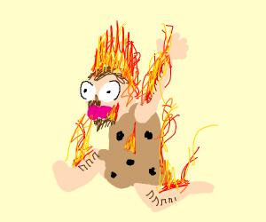 Caveman on fire