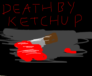 Knife with Heinz ketchup on it