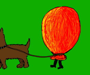 red balloon walking a dog