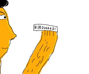 Eye reads note that says nerdward
