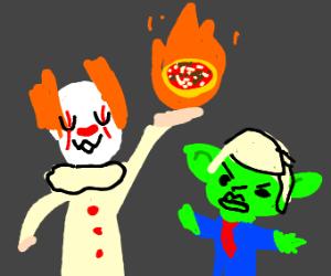 Itawyuwu shoots flaming pizza at goblin trump
