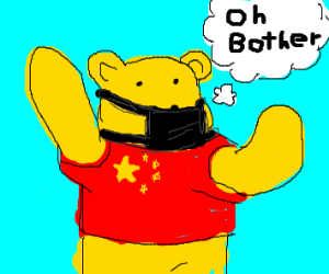 Pooh in China shirt, in over his head.