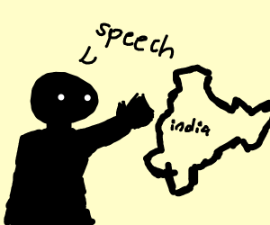 Dark guy making a speech to india