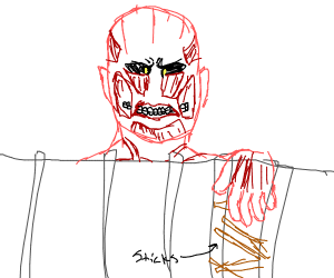 colossal titan drops sticks within the walls