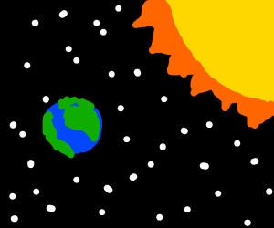 The earth and sun in space.