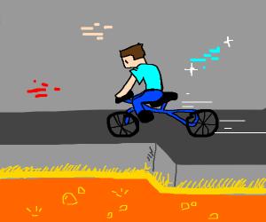 steve riding a bike next to lava