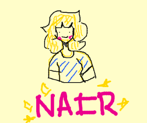with the text NAIR below her