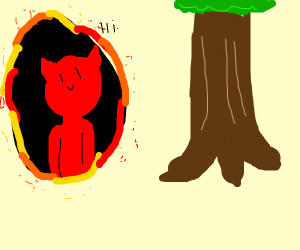 devil getting out of hole to say hi to a tree