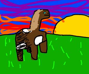 Pewdiepies horse Joergen walking over a field