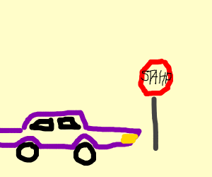 Purple car at stop sign