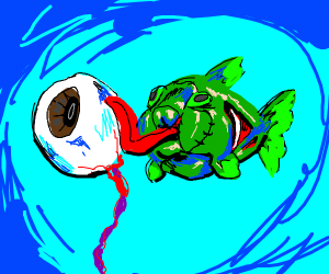 Zombie goldfish licking an eyeball