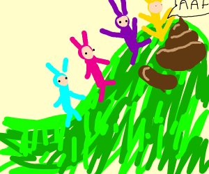 Teletubbies find giant turd on a hill