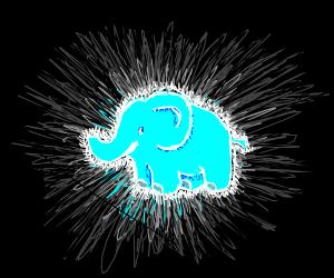 glowing blue elephant