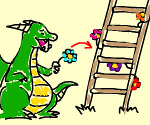dragon putting flowers on a latter