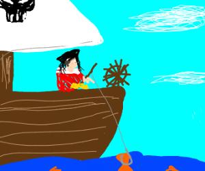 a pirate fishing