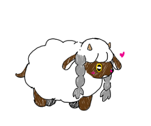 A chubby fluffy sheep with two hair braids