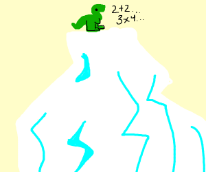 Dino on a glacier does math