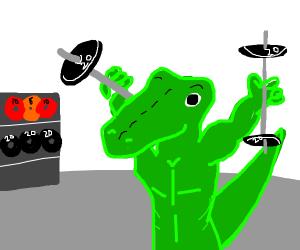 Alligator lifting weights