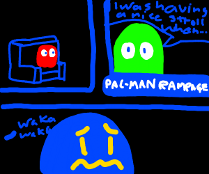 pacman ghost watching the news