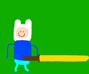 Finn the human with a giant gold sword.