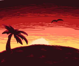 Coastal topical sunset