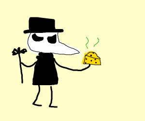 Plague doctor inspects cheese