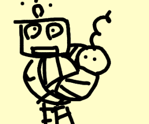 robot taking care of a baby