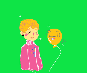 Handsome girl or pretty boy with pet balloon