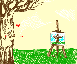 tree looking at a painting of a tree